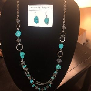 Jewelry - Turquoise Long Necklace and Earring Set